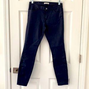 ZARA Women Premium Denim Collection Metallic Navy Jeans, Size 6